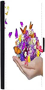 Snoogg Hand Holds Flower Spill Many Flowers And Butterfly designer Protective Phone Flip Case Cover For Lg Nexus 5X
