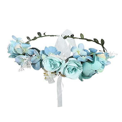 Fang-denghui, Frauen Hochzeit Floral Krone Kopf Band Floral Blume Stirnband Für Frauen Brautjungfer Braut Girlande Stirn Haarband (Color : - Softball Prinzessin Kostüm