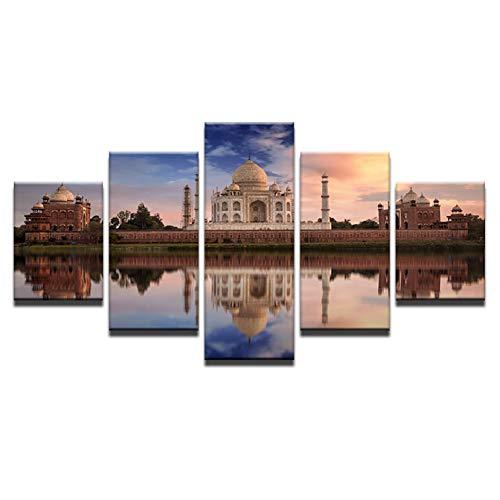 KKXXWLH Druck Malerei Für Wohnzimmer Wohnkultur 5 Panel Indischen Taj Mahal Modularen Bilder Plakatrahmen Hohe Qualität leinwand -
