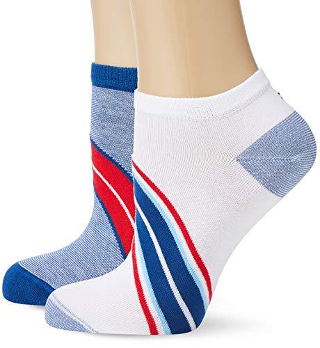 Tommy Hilfiger Damen TH Women DIAGONAL Sneaker 2P Füßlinge, Blau (Blue Combo 168), 39/42 (2erPack) Diagonal Matt