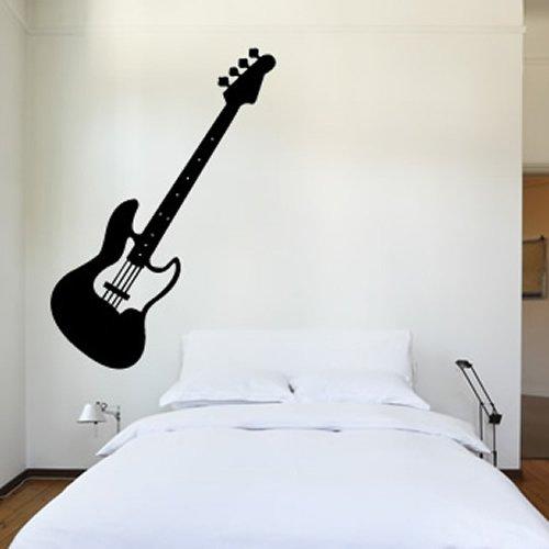 E-Gitarren-Print-Wandaufkleber-Wandtattoo-Musik-Kunst-verfgbar-in-5-Gren-und-25-Farben-Gro-Schwarz