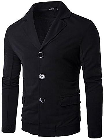 Whatlees Men asymmetric Super Tight Blazer jacket JACKETS B166-Black-L