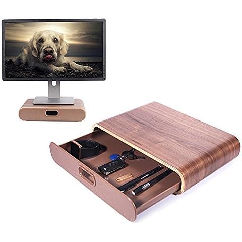 In legno Monitor supporto, UCMDA arco COMPUTER Desktop Monitor Heighten supporto mensola supporto display staffa per iMac PC portatili, colore: nero Black stand&drawer 13.78 x 9.65 x 2.95 inch