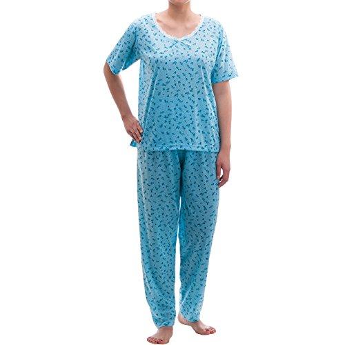 Lucky - Ensemble de pyjama - À Fleurs - Manches Courtes - Femme Medium Bleu - Bleu clair
