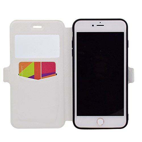 Apple iPhone 7 Plus 5.5 hülle, Voguecase Kunstleder Tasche PU Schutzhülle Tasche Leder Brieftasche Hülle Case Cover (Sichtfenster/Erde) + Gratis Universal Eingabestift Sichtfenster/Marmor/Schwarz und weiß