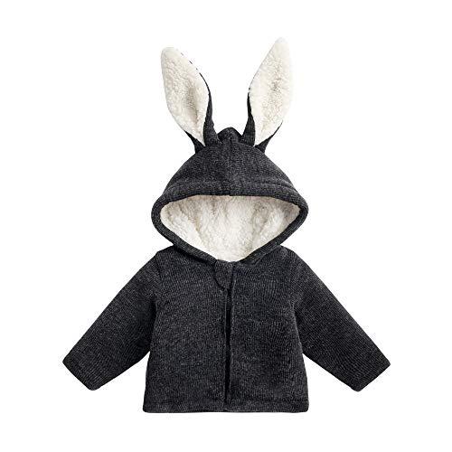 HEETEY Baby Kinder Mädchen Junge Mode lässig Mantel Hasenohren mit Kapuze Halten Sie warme wattierte Jacke Kleidung - Leder Jacke Jungen 4t