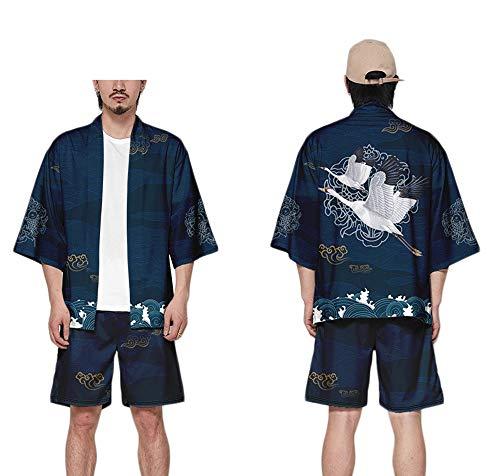 GNAXY Herren Kimono Cardigan Set | Short Oberteile+ Kurze Hose,DX002,XL Kimono-shorts
