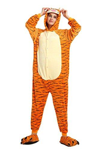 Pijama de invierno de una pieza, talla para adulto, de franela, diseño de tigre, XL(173-180cm)