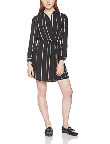 New Look Stripe Tie Sleeve Shirt, Robe Femme Black (Black Pattern)