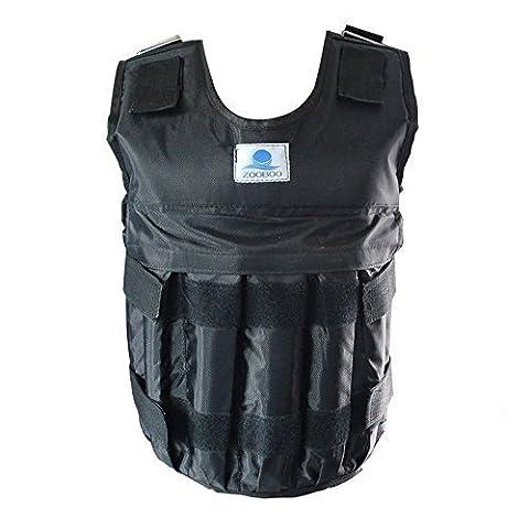 Gilet de poids réglable d'exercice Fitness pour Femme Poids 20 kg/44 lbs Noir (sable ou poids non inclus)