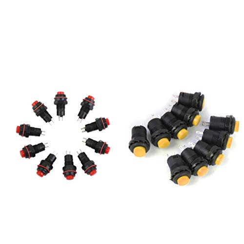 Homyl 20 Stück Druckschalter Off-on Taster Runder Dash Klingeltaster Schalter 2 Pin (Rot + Gelb) -