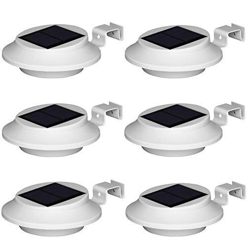 Upgrade Weiße Solarleuchten Solar 6 LED Warmweiß Licht, Treppenleuchten Aussenleuchte Wandleuchten Wegeleuchten mit lichtssensor, Wasserdicht für Garten Zaun Dachrinnen Balkon Terrasse (6er Set)