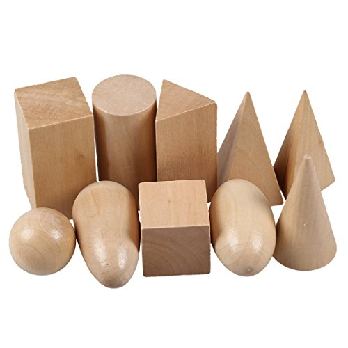 SODIAL(R) Sac de mystere en bois Montessori Les blocs de geometrie etablissent des jouets cognitifs educatifs