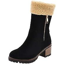 Holeider Wildleder Schneestiefel Damen Warm Gefüttert Mode Chunky Heels Stiefeletten  Winterstiefel mit Reißverschluss Casual Schuhe Frauen a39751d36b