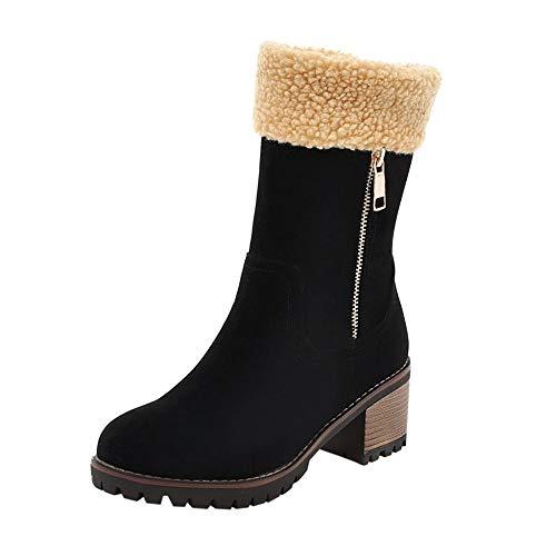 Bottes de Neige,Subfamily Mode Boots Hiver Chaussures Plates Bottines Fermeture Éclair Bottines Plates Fourrées Hiver en Daim Synthétique Fourrure à Talons Bas Bottines