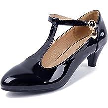 AgeeMi Shoes Mujeres Sólido Tacón EN Forma de Cono de Salón con Hebilla