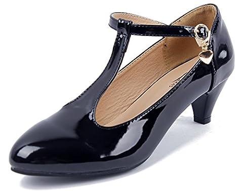 AgeeMi Shoes Femme Escarpins Femme Talon Moyen Boucle Bout Round Chaussures,EuD30 Noir 37