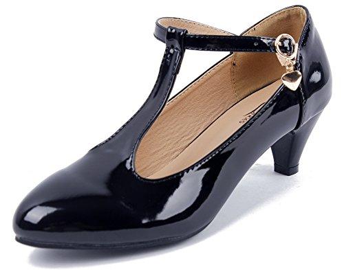 AgeeMi Shoes Damen Mitte Blockabsatz Riemchen Pumps T Spangen Runde Zehe Pumps,EuD30 Schwarz 39