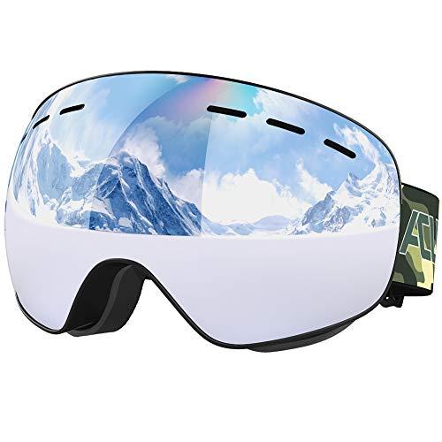ACURE SG01 Skibrille - OTG Rahmenlose Snow Snowboardbrille, Doppelscheibe mit Antibeschlag- und UV400-Schutz für Mann, Frau und Jugend (Silber)