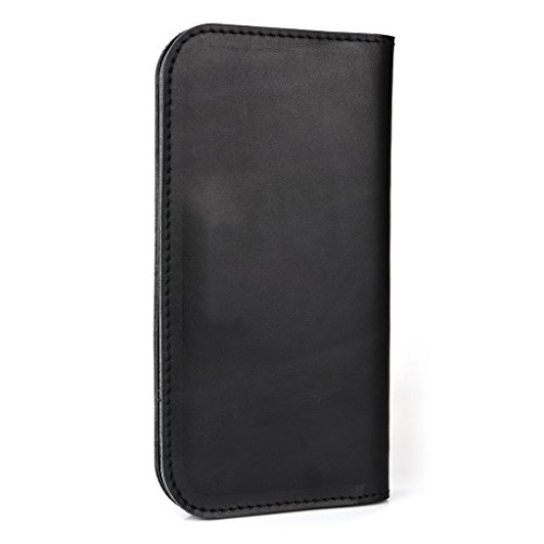 Étui portefeuille en cuir véritable pour Prestigio MultiPhone 5451Duo pour Marron - marron noir - noir
