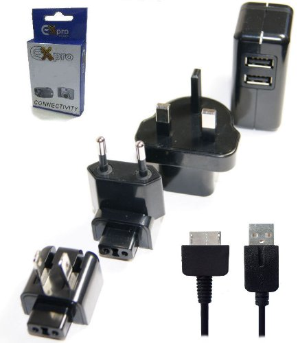 Ex-Pro® Sony PS Vita Sync & Charge USB Cable Lead with Dual Mains Worldwide USB Mains Adapter Charger