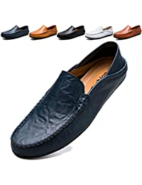 23b5c59e4a5 KAMIXIN Loafers Flats Men s Slip on Moccasin Handmade Leather Fashion  Slipper Breathable Driving Shoes Casual Shoes