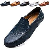 KAMIXIN Mocassini Uomo Pelle Estivi Pantofole Casual Eleganti Slip On Scarpe da Guida Scarpe da Barca Classic Loafers Blu 46EU