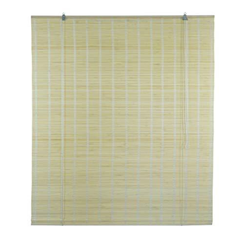 6 modelos 14 medidas de estores de bambú cortina de madera persiana enrollable (135 x 225 cm, Natural)