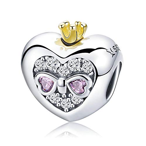 Romantica corona da principessa, in argento Sterling 925, con perline a forma di cuore rosa, per braccialetti e braccialetti fai da te