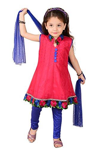 Aarika Girl's Net Fabric Self Design Churidar Suit Set
