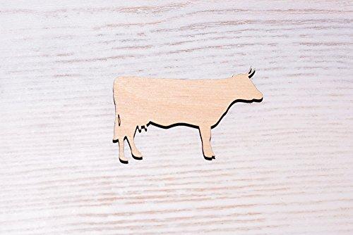 Set von 10Holz Kuh Sperrholz Laser, Holz Ausschnitt, Sperrholz Figur, Form Holz ORNAMENTS Craft Dekoration Mittelmeer unlackiert (ew0253), 7cm