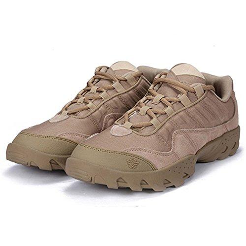 emansmoer Herren Wasserdicht Atmungsaktiv Outdoor Sport Wandern Trekking Schuhe Low-top Lace-up Non-slip Komfort Sneakers Khaki