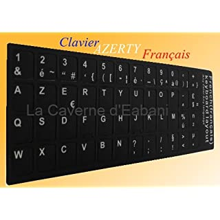 La Caverne d'Eabani, Aufkleber AZERTY, schwarz, für Computer-Tastatur