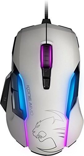 Roccat Kone AIMO mouse da gioco - alta precisione, sensore ottico Owl-Eye (12.000 DPI), illuminazione a LED RGB AIMO, 23 tasti programmabili, bianco