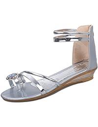 Easemax Damen Strass Reißverschluss Flip Flop Flach Zehentrenner Schuhe Gold 36 EU