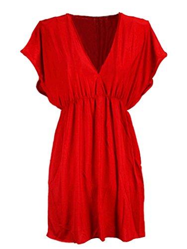Allentato Vestito Donne Profondo Scollo a V Manica Corta Abito Corto Vestito Spiaggia Nero Rosso