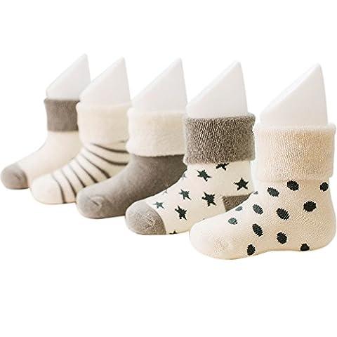 VWU Lot de 5 Paires Unisexe Bebes Infant Chaud et épais Antiderapants Chaussons Chaussettes de Manchette Camaïeu Rayées Nouveau-Nés Bébé Chaussettes en Coton (6-12 mois, Gris)