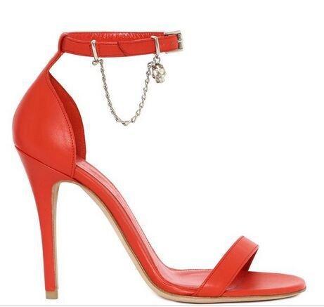 High Heels Sandalen Einfache Ketten High Heels Banquet Schuhe Heels gules