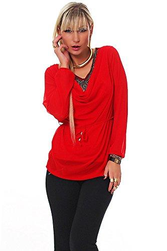 4831 Fashion4Young Damen Langarm Damen Bluse aus Chiffon Top T-Shirt Tunika Hemd 9 Farben Gr. 36/38 Rot