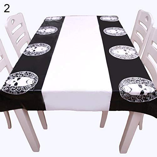 Yimosecoxiang Schöne und lustige Fisher Price Kürbis Totenkopf Rechteck Wasserdichte PE Tischdecke Halloween Esstisch Decor, Skull