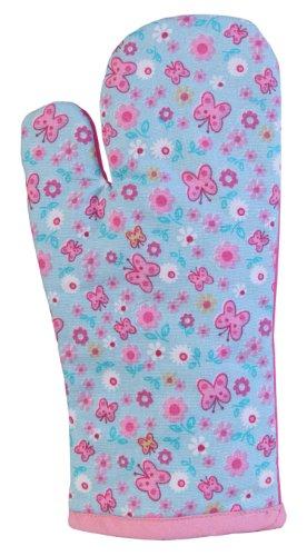 Homescapes Ofenhandschuh Butterfly, pink blau ca. 18 x 32 cm, Topfhandschuh aus 100% reiner Baumwolle mit Polyesterfüllung, waschbarer Kochhandschuh -