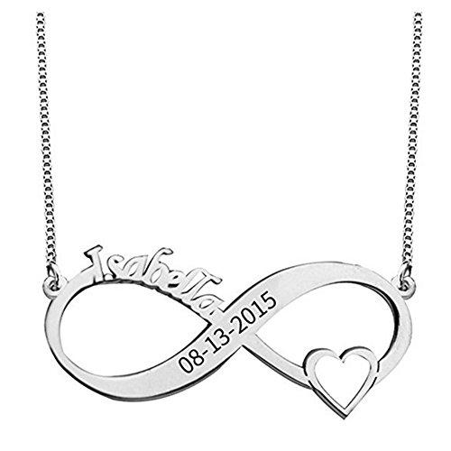 4581671a36b1 Chhehee Grabado Personalizado De Infinity Necklace 2 Nombres con Corazón  Encantador 925 Joyas Personalizadas De Plata