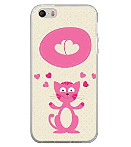 Fuson Cat Clipart design Designer Back Case Cover for Apple iPhone SE (Sweet Animated Teddy Spider Rhino Tiger Tatto)