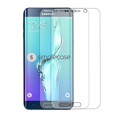 Simplecase Panzerglas passend zu Samsung Galaxy S6 Edge Plus , Premium Bildschirmschutz , Schutz durch Extra Härtegrad 9H , Case Friendly , Echtglas / Verb&glas / Panzerglasfolie , Klar - 2 Stück
