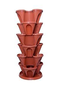 Malhotra Plastic Plastic Stack-A-Pot for Floor Set (Terracotta, 7-Pieces)