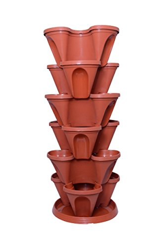 Malhotra Plastic Plastic Stack-A-Pot for Floor Set (Terracotta, 7-Pieces)