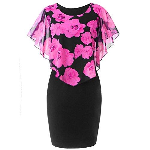 TUDUZ Sommerkleid Damen Casual Rose Print Chiffon O-Ausschnitt Rüschen Minikleid Partykleid (Pink,...