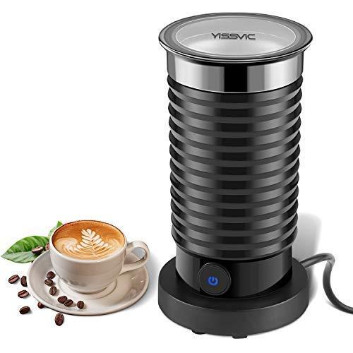 Milchaufschäumer Elektrisch Yissvic Automatischer Edelstahl Milchschäumer Aufschäubar für Warme und Kalte Milch 360° Basisstation Antihaft Schwarz (Verpackung MEHRWEG)