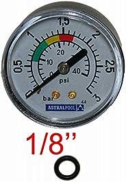 Manomètre astralpool pour Filtre a Sable Piscine 3 Bars - 4404010103 - Fixation arriéré raccord 1/8&