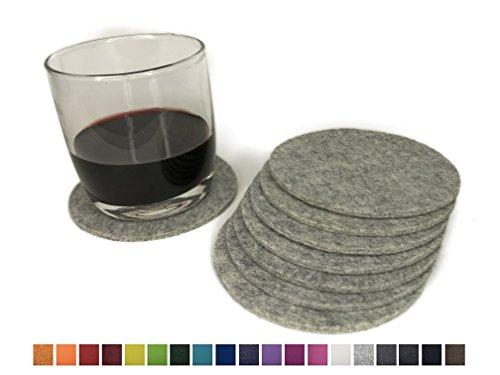 8 runde Glasuntersetzer aus 100% reinem Wollfilz – Farbe wählbar, Filzuntersetzer für Tisch und Bar von 8-Natur / Getränkeuntersetzer aus reinen Naturstoffen (Hellgrau)